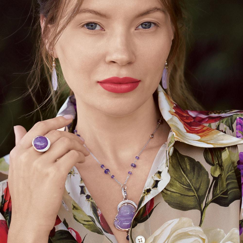 Silvia Kelly - Lecco jewelry - Italian jewelry - Lavender Jade Fotuo Pendant