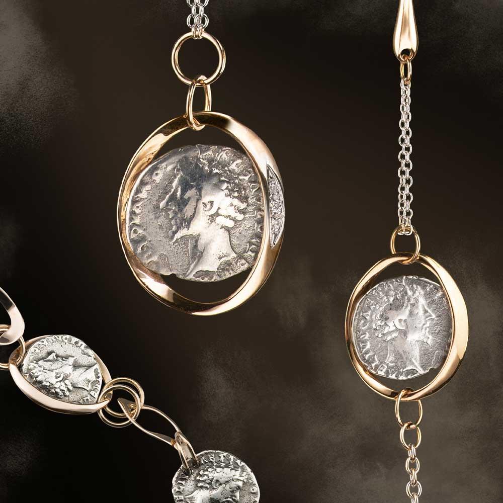 Collezioni Monete  Silvia Kelly Gioielli - Oro Rosa e Bianco 18Kt Monete in argento 925 brunito